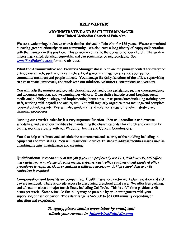 SHORT FUMC Job Post Admin Facilities Mgr FEB 2019