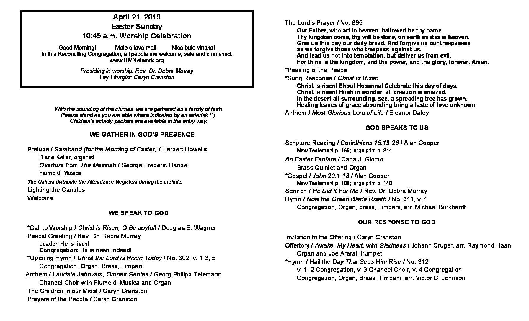 4.21.19 Easter Bulletin