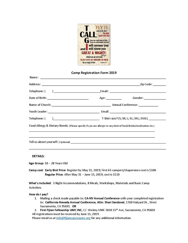 Camp Registration Form 2019
