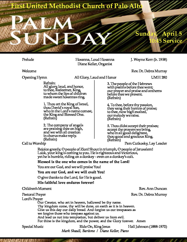 Palm Sunday April C – Bulletin in Progress