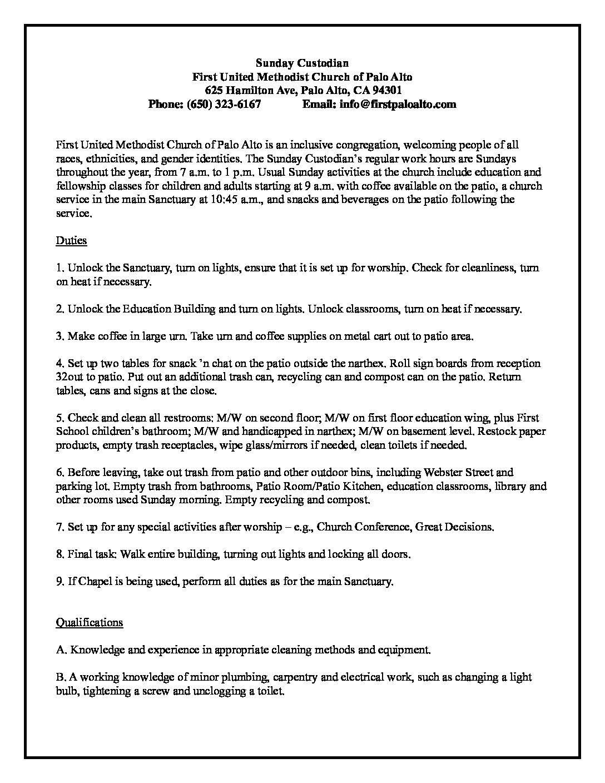 7.2021 Sunday Custodian Job Description FINAL (1)